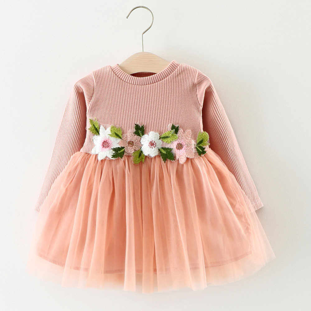 Autumn winter Cute Toddler Baby Girl Floral Tutu Long Sleeve Princess Dress girls dresses for party and wedding vestido infantil