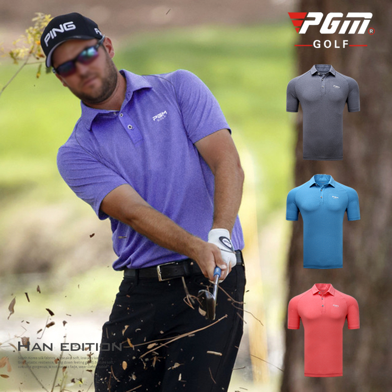 PGM 2018 New Golf Clothing Mens Short Sleeve T-shirt Summer Elastic Breathable Sportswear Quick-drying Fabric Golf POLO Shirt