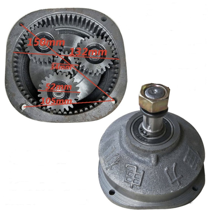 Center gear:15t . Planet gear:24t  Electric tricycle motor gearbox assembly motor head reducer assembly