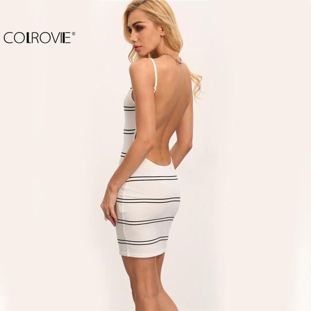COLROVIE White and Black Striped Sleeveless Round Neck Backless Bodycon Short Dress Women Summer Sheath Mini Dress