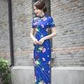 Shanghai Story Blue Floral Cheongsams long cheongsam qipao dress chinese traditional clothing oriental dresses 3 Color