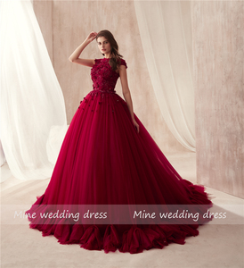 Image 2 - 2021 O neck Ball Gowns Burgundy Wedding Dress with Color 3D Flowers Applique with Rhinestones Crystals Bridal Gowns Reals