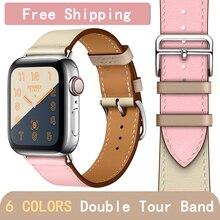 Kebitt кожа Для мужчин Для женщин один тур полосы для Apple Watch Series 4 1 2 3 три Цвет iwatch двойной ремень группа 38 40 мм 42 44 мм