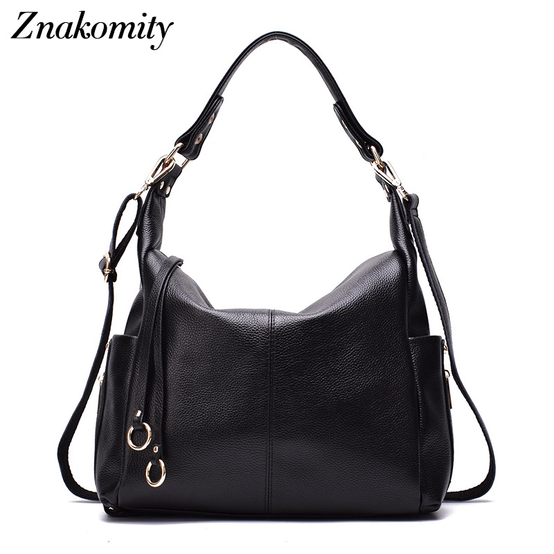 Znakomity Fashion luxury women genuine leather shoulder bag hobo handbag ladies real leather tote hand bags women messenger bag znakomity new shoulder bag real women s genuine leather handbag wine red fashion brown black tote bag top handle hand bags women