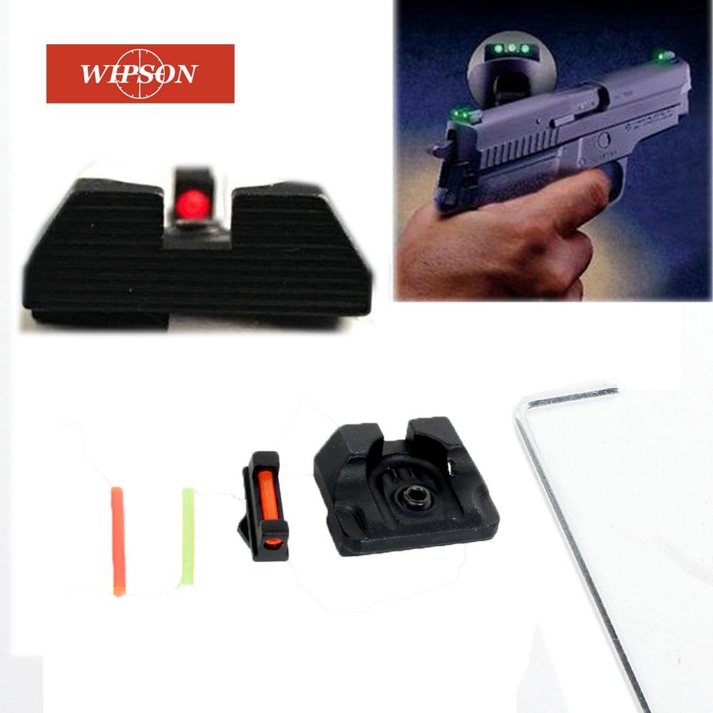 WIPSON Fiber Optic Front Sight / Rear Combat Glock Sight V3 Black For Glock Standard Models Tactical Hunting Excellent Metals