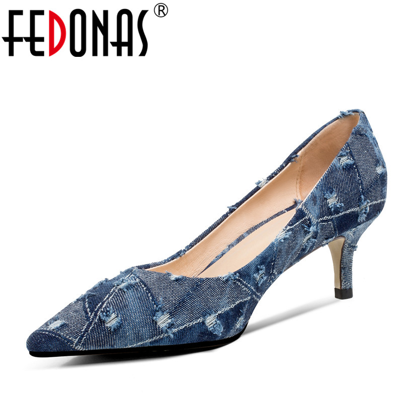 FEDONAS  2018 New High Heels Shoes Woman Stiletto Thin Heel Pointed Toe Denim Pumps High Quality Elegant Wedding Party Shoes top quality woman shoes fashioned in the concise design and unique pattern fringe decoration stiletto high heels light blue heel