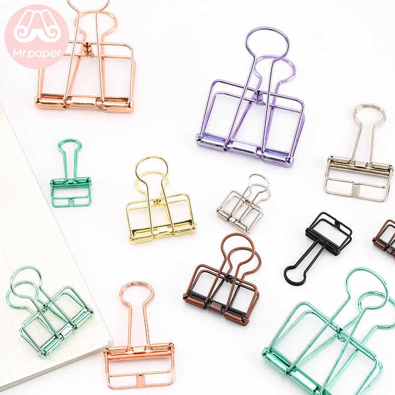 Clips Mr Paper morados para carpetas de oficina, Clips grandes, medianos, medianos, pequeños, en 3 colores, dorado, plateado, rosa, verde, morado, 8 colores