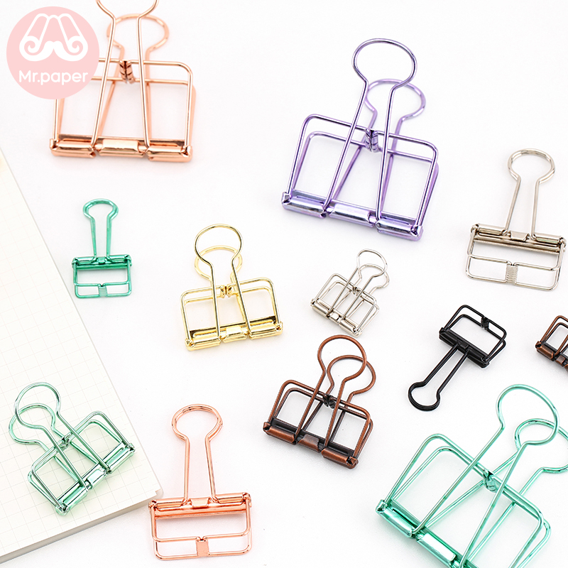 Mr Paper 8 Colors 3 Sizes Ins Colors Gold Sliver Rose Green Purple Binder Clips Large Medium Small Office Study Binder Clips