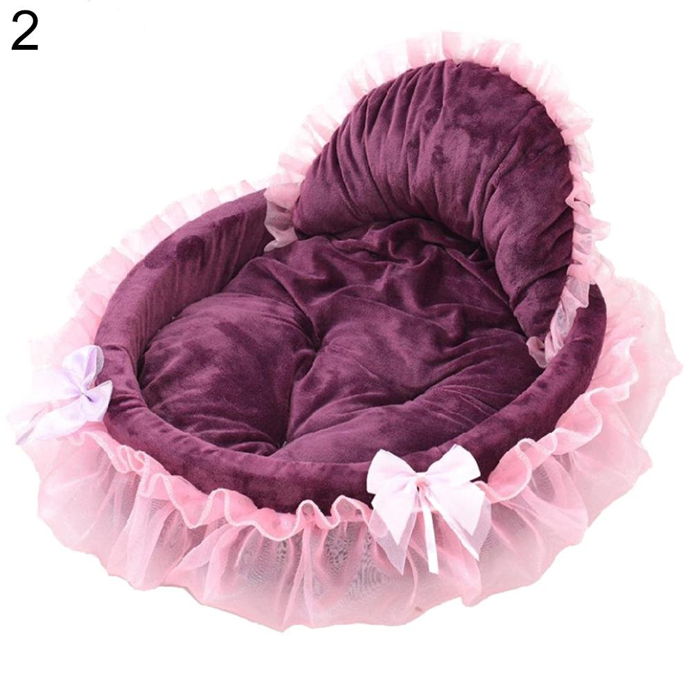 TINGHAO Cat Dog Puppy Princess Bowknot Lace Ruffle Lovely Soft Bed Doghouse Pet Warm Bed 1 ruffle