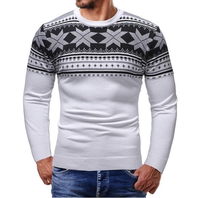 Pulóver VERTVIE 2018 para hombre nuevo suéter tejido otoño Casual Navidad  estampado suéteres masculinos moda manga b23e963fd820