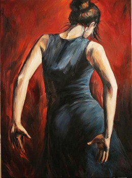 Handmade Personalized Gift Oil Painting Reproduction On Canvas Spanish flamenco dancers tango black and blue dress High quality