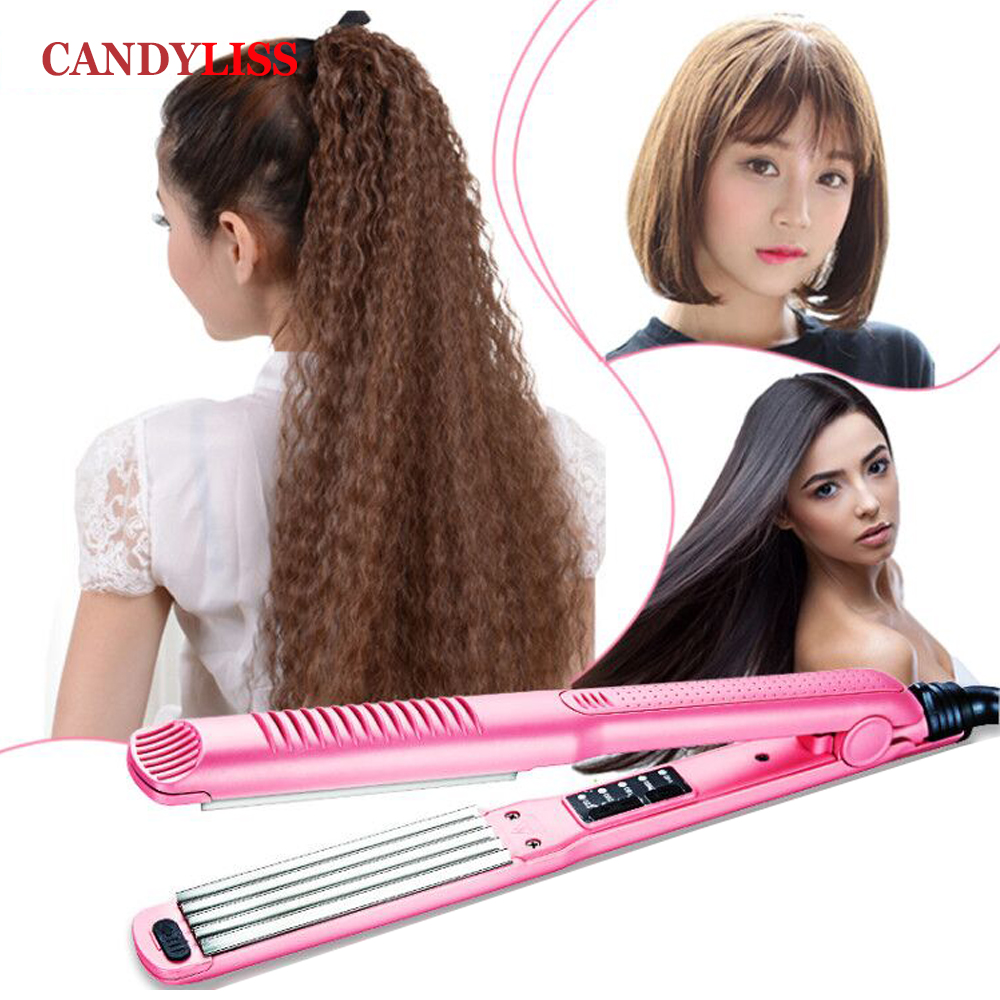 Professional titanium Hair Curler + Corn Plate +Hair Straightener Flat Iron Hair Straightening Corrugated Iron Styling Tool top selling professional straight iron curler intelligent flat iron fast heating titanium coating hair straightener with teeth