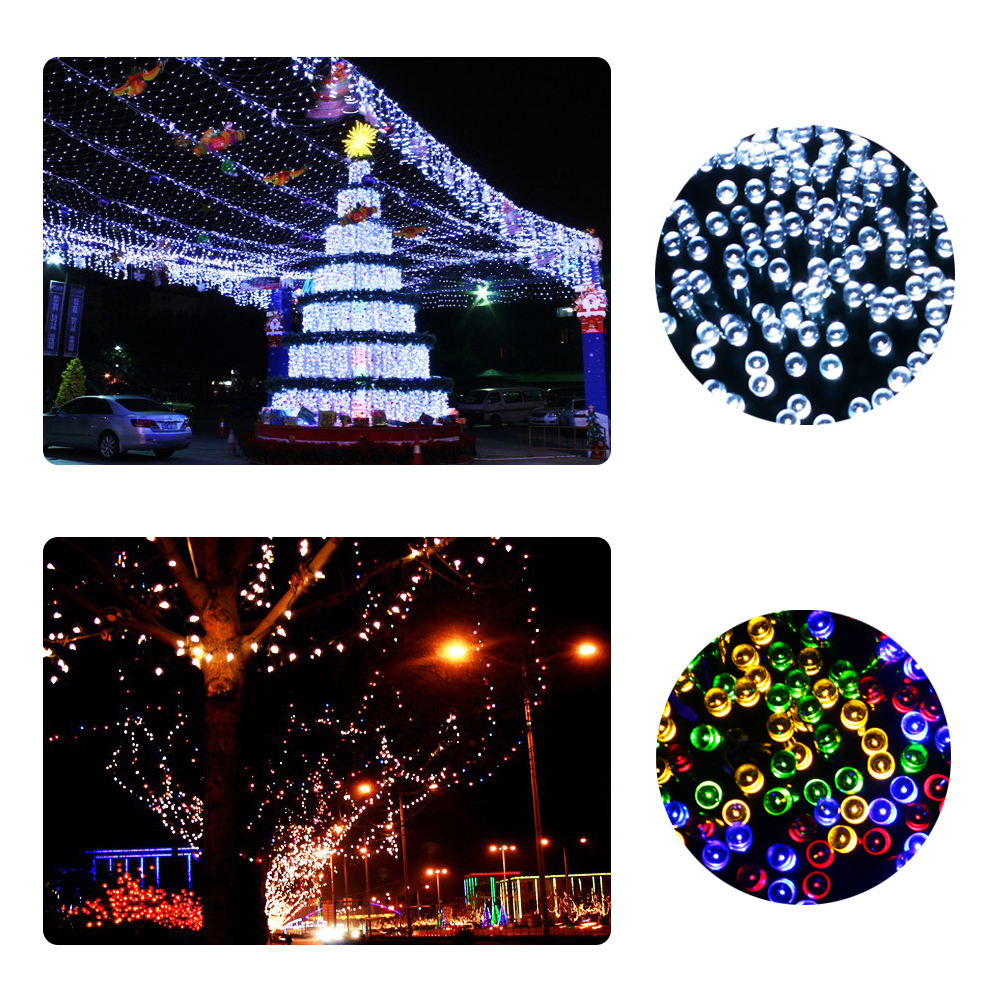 Solar LED Garland String Lights 100 Led Solar Light Outdoor Wedding Event Party Garden Decoration Lamps Luce Solare Panel Strip