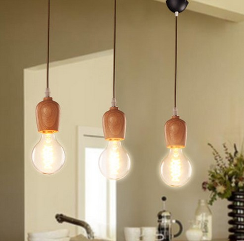 American Loft Wood Art Edison Pendant Light Fixtures Simple Modern Droplight Indoor Lighting For Dining Room Bar Hanging Lamp american loft style hemp rope droplight edison vintage pendant light fixtures for dining room hanging lamp indoor lighting