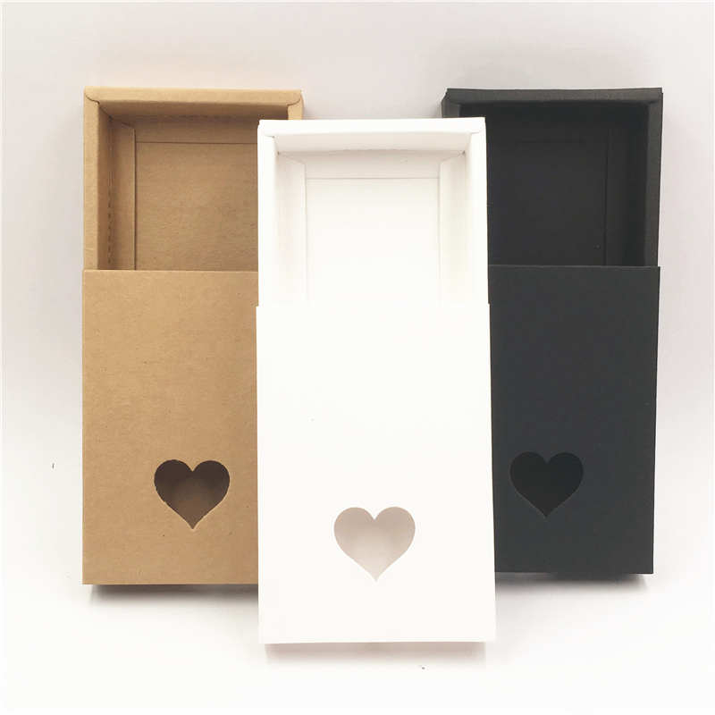 12Pcs/Lot Paper Drawer Box Fashion Style Heart Shape PVC Small Window For Wedding Party Candy Cookies Supplies Drawer Box Cases