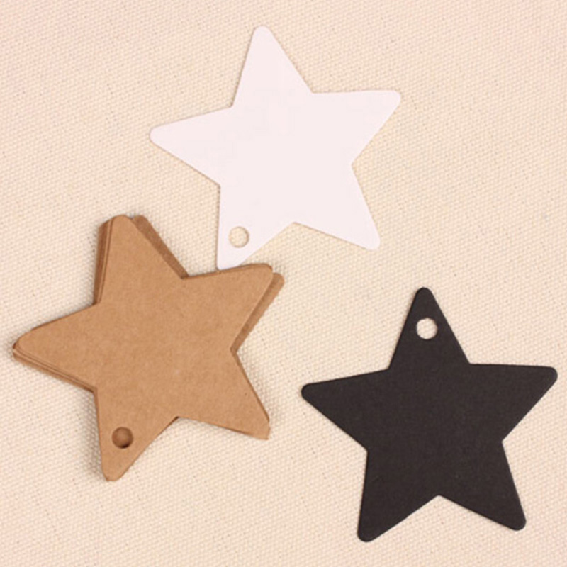 100Pcs Star Kraft Paper Label Wedding Christmas Halloween Party Favor Price Gift Card Luggage Tags White Black Brown 3 Colors