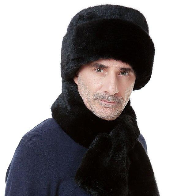 Мужская мартен имитация норки шляпа мужчин среднего возраста плоская крышка утолщение шапка деда мороза B-0652