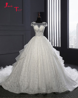Jark Tozr Custom Made Cap Sleeve Sexy Backless Ruffles Skirt Appliques Beading Crystal Pearls Lace Ball Gown Wedding Dress 2018