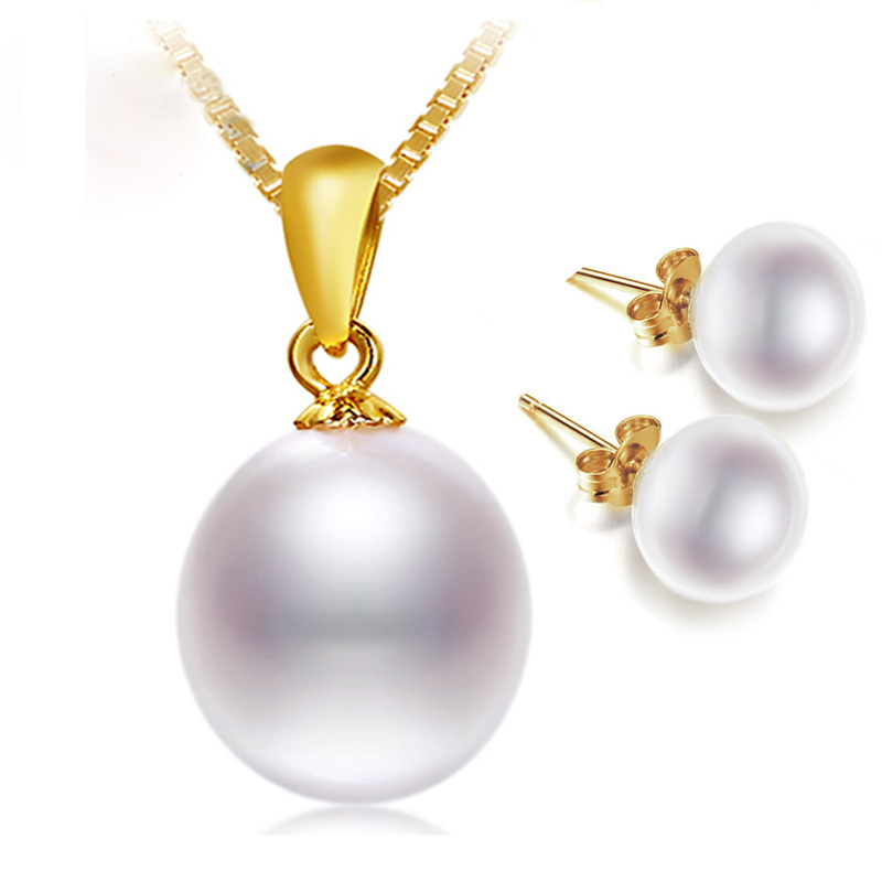 NYMPH 18K Yellow Gold Necklace Pendant Natural Freshwater White 10 11mm Drop Pearl Wedding Party Gift