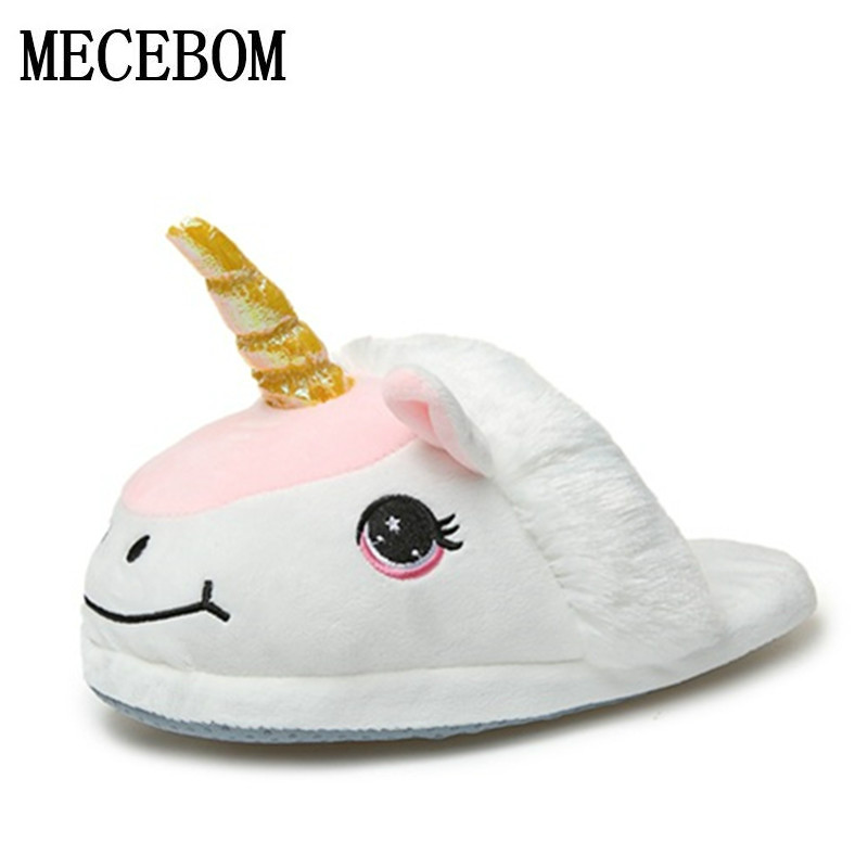 Plush Unicorn Cotton Home Slippers for White Despicable Winter Warm Chausson Licorne Indoor Christmas Slippers Fit Size35-43 68W unicorn slippers cotton winter indoor warm solid flat furry animal fluffy fenty anime shoes fuzzy house licorne home slippers