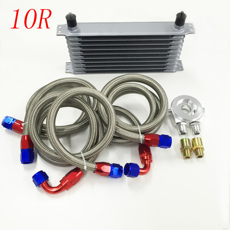 ФОТО UNIVERSAL 10 ROW AN10 ENGINE TRANSMISS OIL COOLER KIT +FILTER RELOCATION /Sandwich Plate  silver / blue color