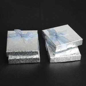 Image 5 - De Bijoux 18Pcs/lot 9*9Cm Silver Square Bow Paper Bracelet Bangle Wristwatch Jewelry Gift Box Paper boxes with ribbon favor box