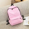Cute pure color 100% cotton backpack Light fresh school bag for teenage girls Pink large capacity men and women's travel bag