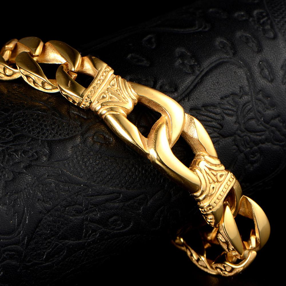 New Fashion Gold Stainless Steel Men 39 s Charm Bracelets Retro Mens Bracelets High Quality Cool Male Biker Jewelry Accessory 22cm in Chain amp Link Bracelets from Jewelry amp Accessories