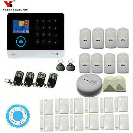 Yobang Security Wireless 3G SMS font b Alarm b font Security System LCD Display Wired Siren
