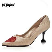 DIJIGIRLS sequined cloth thin high heel shoes with red heart women dress  party wedding shoe plus size pumps 7ec7d73c665d