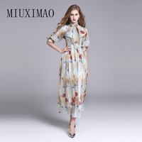 2018 High Quality Spring Latest New Arrival Casual Style O Neck Half Sleeve Flower Print Elegant