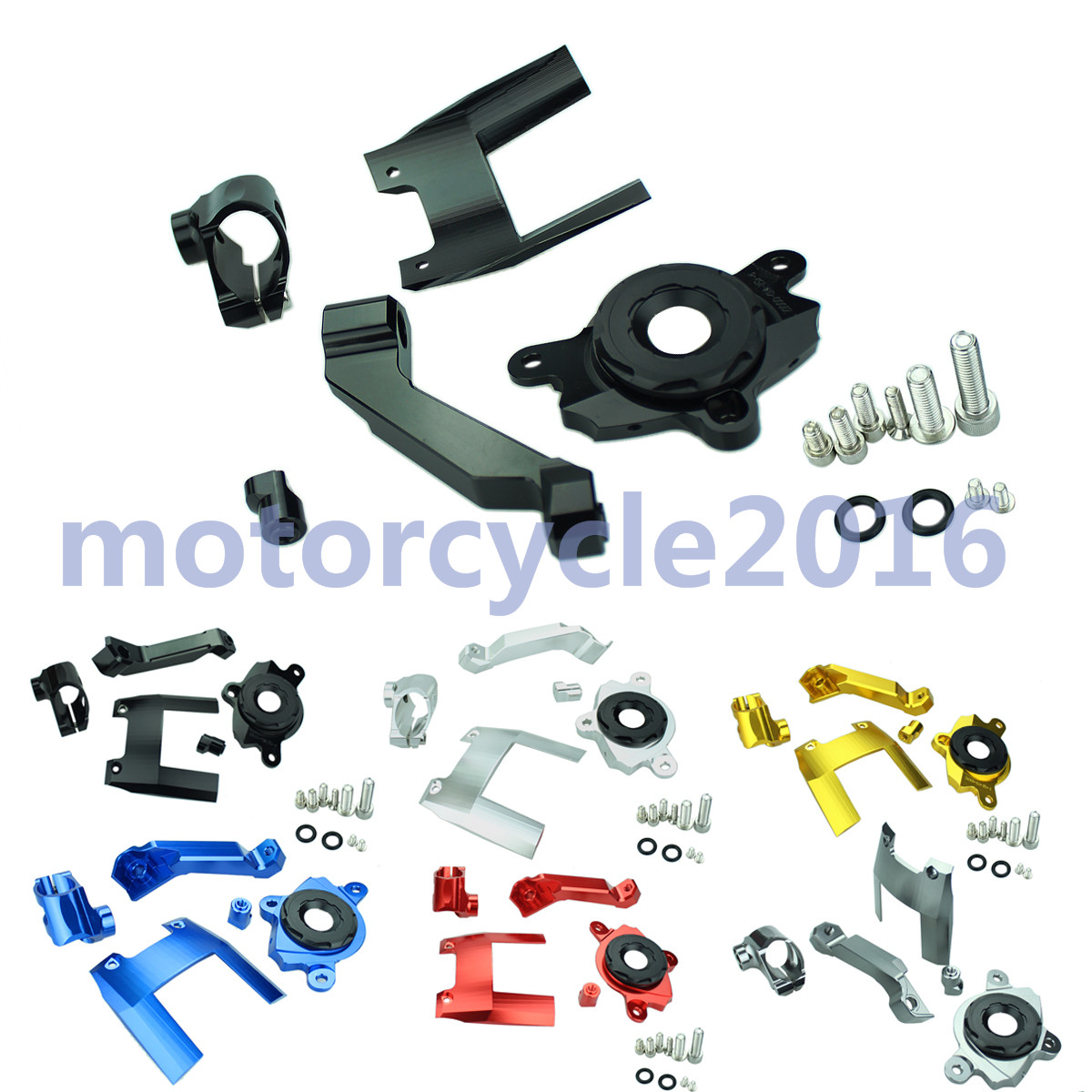 ФОТО Adjustable Steering Stabilize Damper bracket Mount kit For Kawasaki Z1000 2016-2017  T6061-T6 Aluminum One set CNC FXCNC