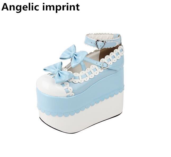 천사의 인형 여자 모리 소녀 로리타 코스프레 신발 레이디 슈퍼 높은 웨지 발 뒤꿈치 펌프 여성 공주 드레스 파티 신발 33 47-에서여성용 펌프부터 신발 의  그룹 1