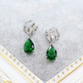 Vintage green Women Earrings White Gold Plated Cubic Zirconia Stud Earrings Wedding Party Jewelry brincos