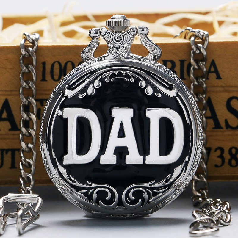 Fashion Cool Silver & Black Color DAD Design Quartz Pocket Watch With Chain Best Gift To Dad Father's Day dad carving vintage pocket watch