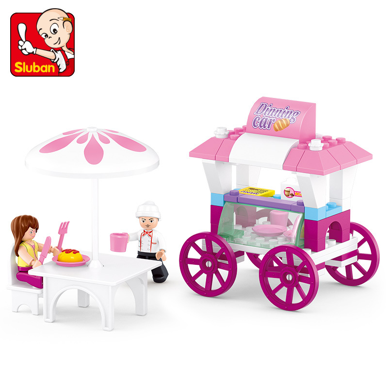 SLUBAN City Bread dining car Building Blocks Sets Doll House Bricks Model Kids Children gifts Toys Compatible Legoe lepin 02012 city deepwater exploration vessel 60095 building blocks policeman toys children compatible with lego gift kid sets