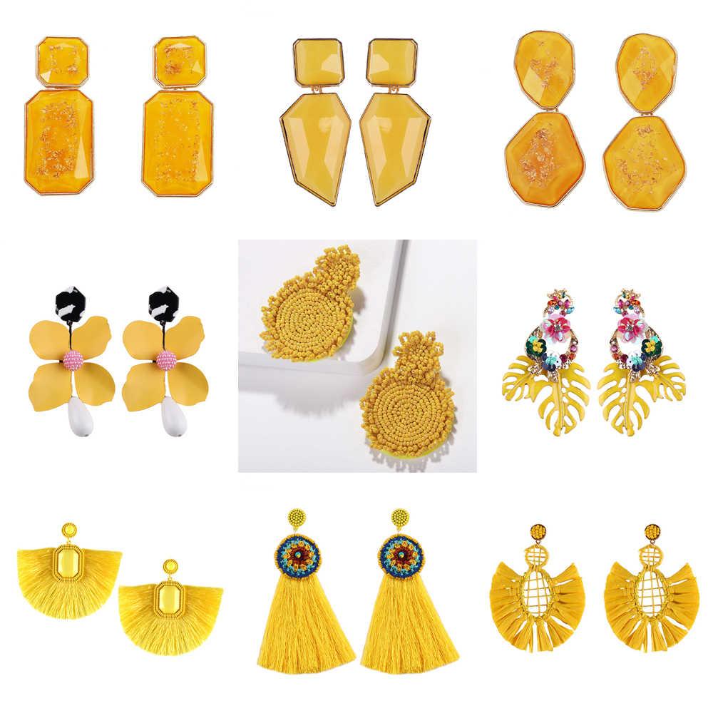 e0c2e2d7a Best lady Za Yellow Resin Beaded Drop Earrings for Women Wedding Bridal  Gift Ethnic Jewelry Bohemian
