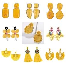 Best lady Za Yellow Resin Beaded Drop Earrings for Women Wedding Bridal Gift Ethnic Jewelry Bohemian Tassel Earring Party Bijoux