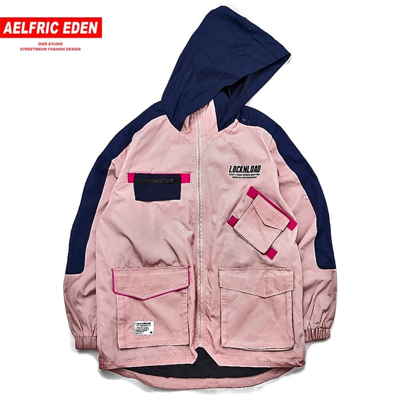 Aelfric Eden Winter Cargo Jacken Männer Taschen Casual Streetwear 2018 Patch Design Patchwork Jacke Outwear Beiläufige Mit Kapuze KJ73-in Jacken aus Herrenbekleidung bei  Gruppe 1
