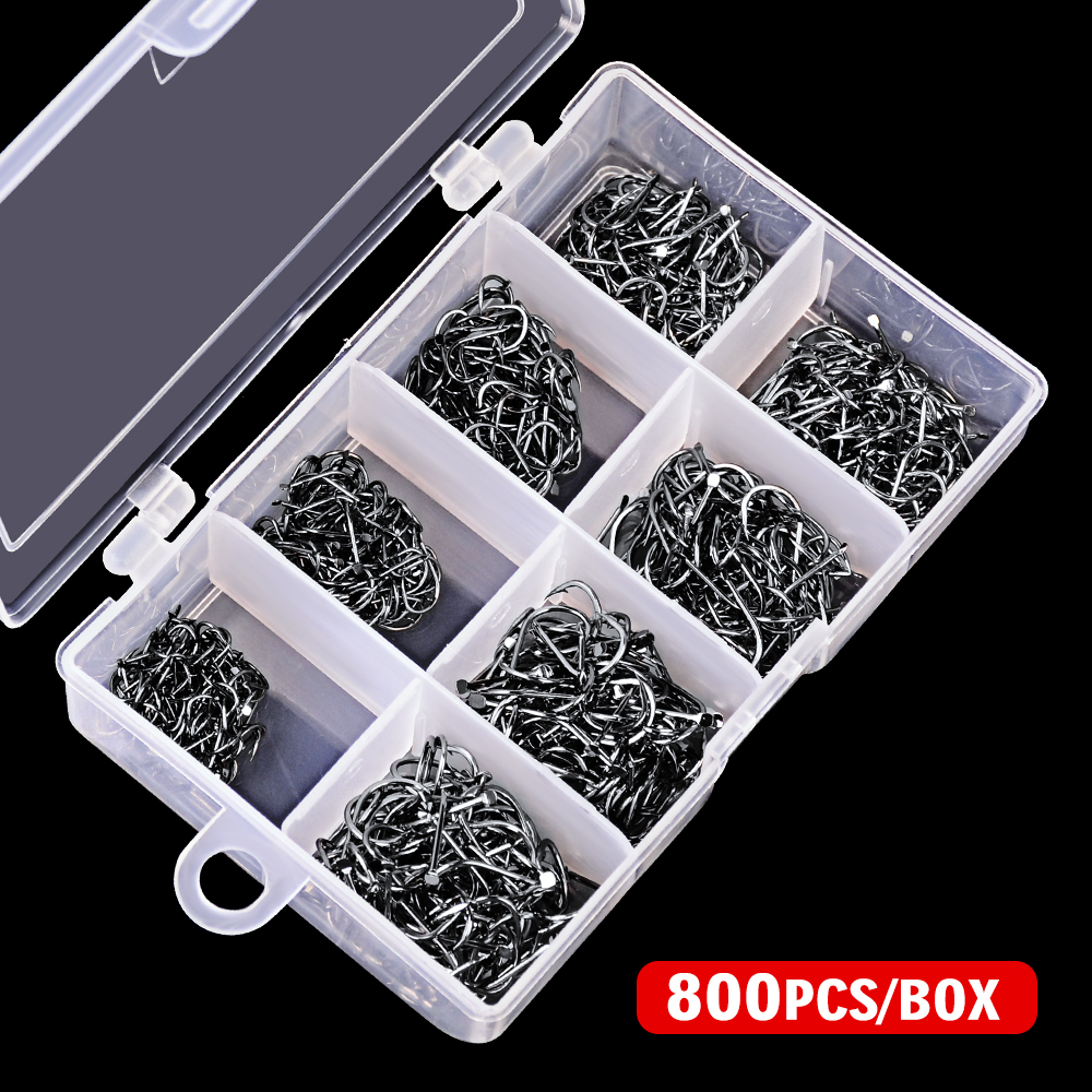 800Pcs/Box fishhook 3# 10# single hook High Qulity Fishing Hook Jig Big Hook Black hook