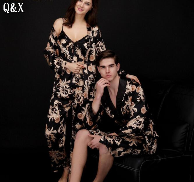 YT5 2017 Spring and Autumn Pajamas For Men Pyjamas Sexy Long Sleeve Faux Silk Sleepwear Couple Pajamas Lover Men Night Gown