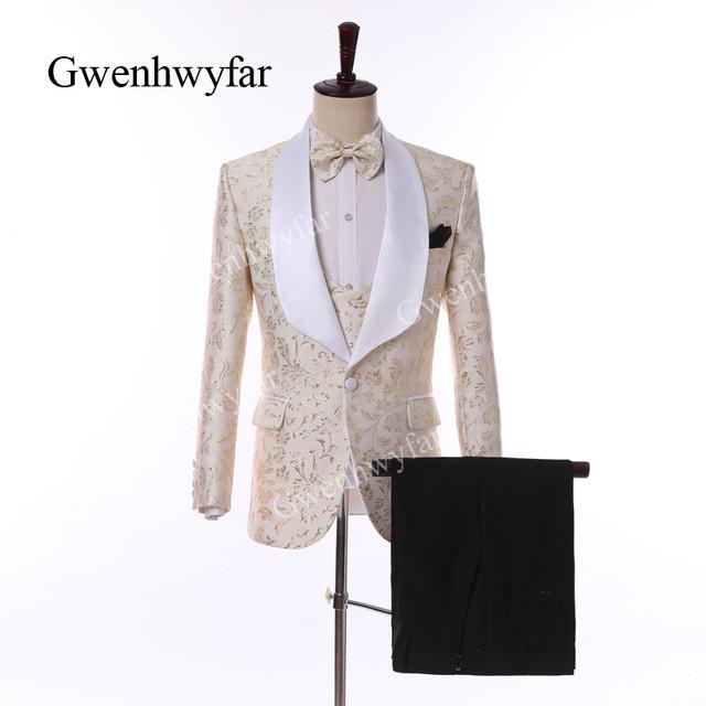 Gwenhwyfar Ivory White Men Suits 2019 New Design Floral Jacquard Shawl Lapel Suits Blazer Pant Vest Business Wedding Men Tuxedos