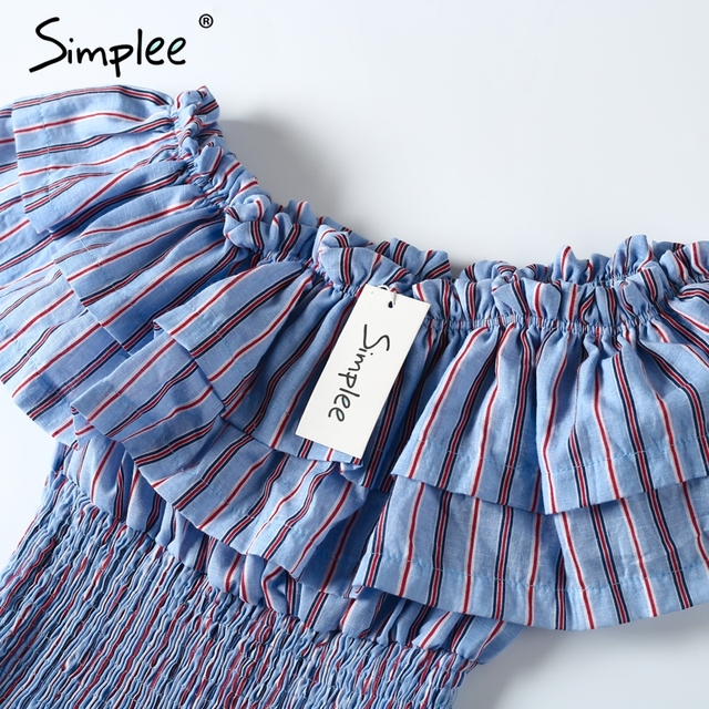 Simplee Off shoulder stripe ruffle blouse shirt Casual pleated slash neck white blouse women Sexy summer femme blusas 2017 new