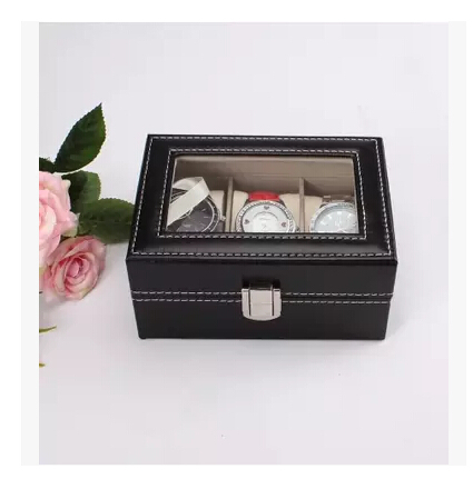 3 Grid Leather Watch Display Show Case Box Jewelry Collection