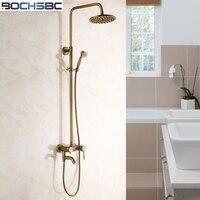 Bochsbc осадков набор для душа латунь Ванная комната Насадки для душа Круглый Античная Для ванной набор для душа с третьими Шестерни дождь Наса