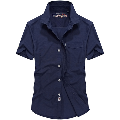 2018 Summer Military Solid Shirt Men Cotton Casual Short Sleeve Chemise homme Plus Size M-4XL Mens Shirts Camisa masculina Islamabad