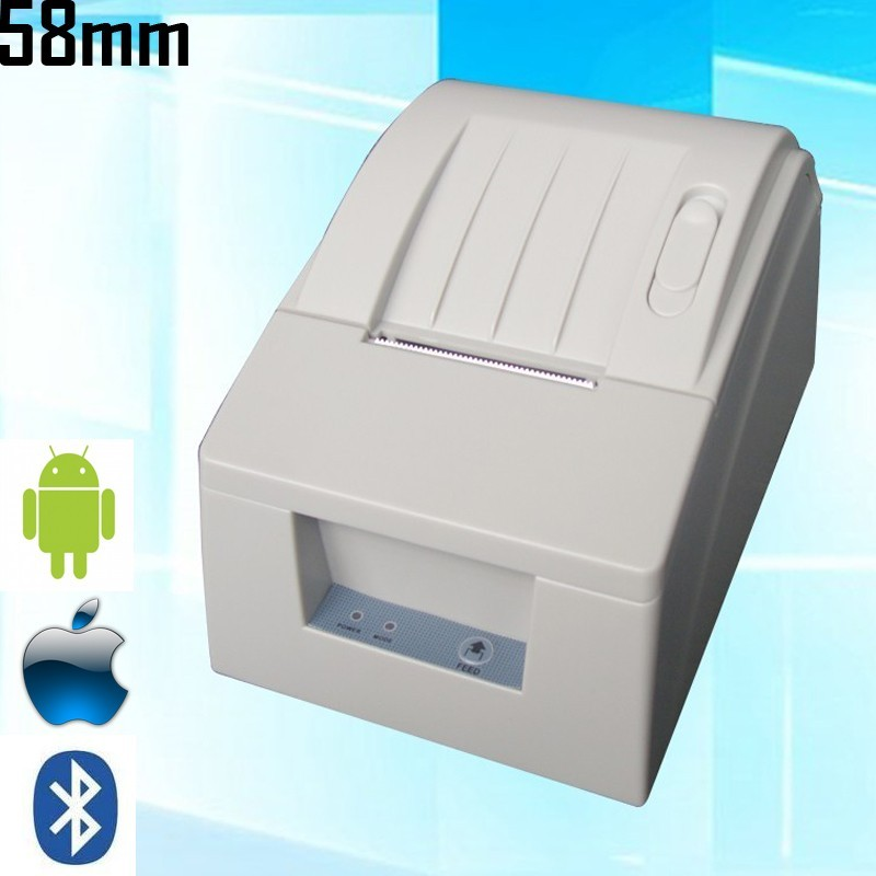 DC 12V 58mm Wireless Bluetooth POS Printer 384 line Thermal Dot Receipt Printer Set With Roll Paper For IOS Android PC mht l58a bluetooth marketing device wireless wired pos thermal printer android tablet with rs232