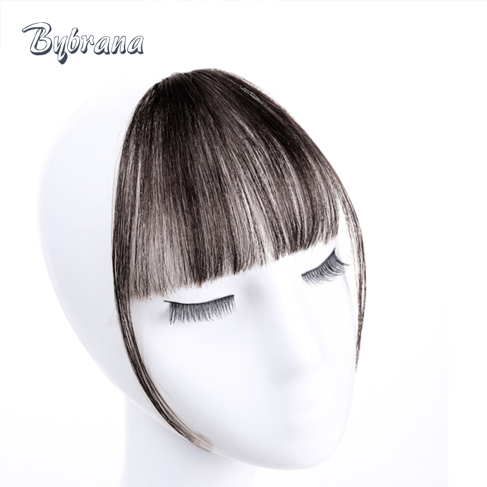 Bybrana Human Bangs 4 Färger Remy Hair Short Clip In Natural Color - Mänskligt hår (svart)