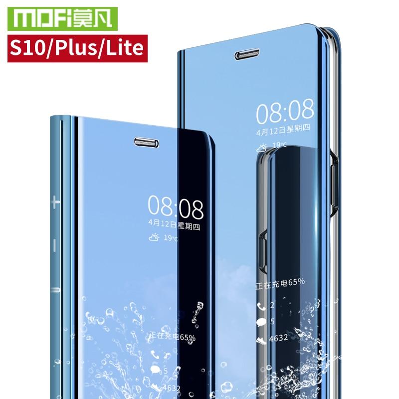 Para Samsung Galaxy caso Para Samsung S10 S10 Plus S10 Lite caso tampa inteligente + caso S10e claro espelho retrovisor filp 360 capa à prova de choque
