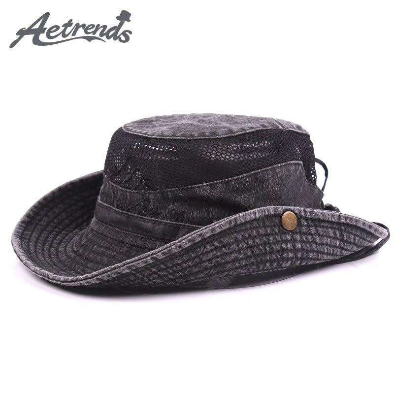 [AETRENDS] Summer Mesh Caps Bucket Hats For Men Sun Hat Z-5319